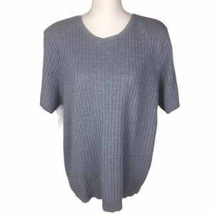 Alfred Dunner Lightweight Short Sleeve Sweater 1X